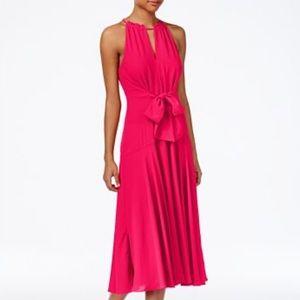 NWT Pink Tie-Front Flattering Midi Dress